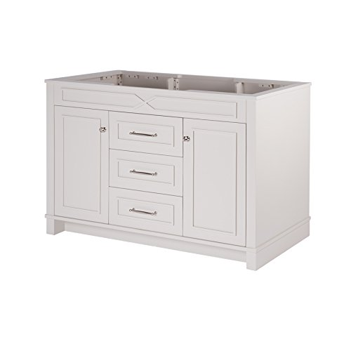 MAYKKE Abigail 48 Inch Bathroom Vanity Cabinet in Birch Wood French Grey Finish, Single Floor Mounted Gray Vanity Base Cabinet Only YSA1154802 48 Transitional Bathroom Vanity