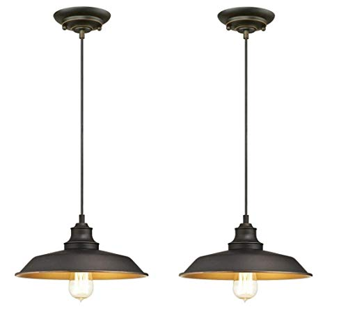 Westinghouse Iron Hill Indoor Oil Rubbed Bronze Finish with Highlights and Metal Shade (One Light Pendant 2 Pack)