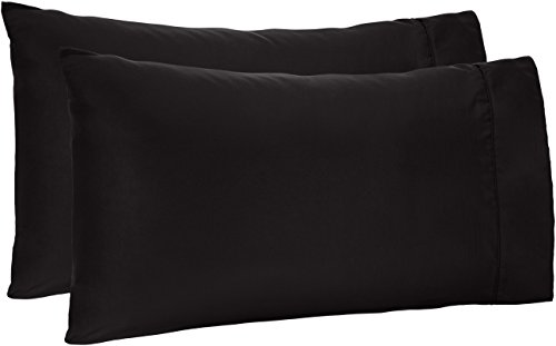 AmazonBasics Microfiber Pillowcases, Set of 2, Standard, Black (Big Black Pillows)