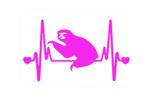 Stickerdad Sloth V2 Heartbeat Lifeline Vinyl Decal (Size: 7&Quot;, Color: Hot Pink) For Windows, Walls, Bumpers, Laptop, Lockers, Etc. -