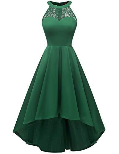 DRESSTELLS Women's Vintage 50's Bridesmaid Halter Floral Lace Cocktail Prom Party Hi-Lo Dress Green XL