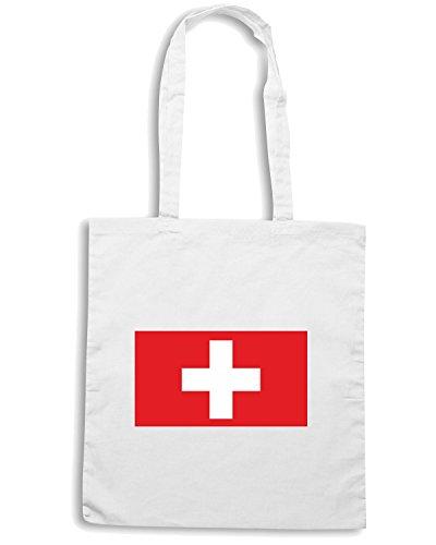 T-Shirtshock - Bolsa para la compra TM0248 Switzerland flag Blanco