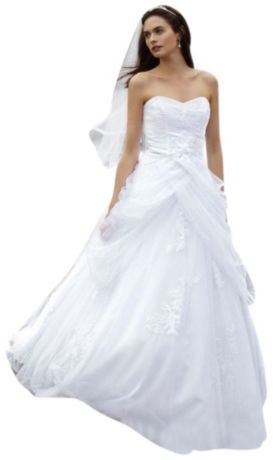SAMPLE: Tulle Ball Gown Wedding Dress with Lace-Up Back and Side Swags Style...