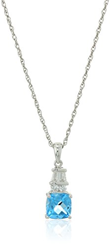 Blue Topaz Lab (Sterling Silver Cushion Shape Swiss Blue Topaz and Lab Created White Sapphire with Rope Chain Pendant Necklace, 18