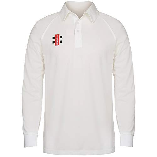 Long Sleeve Cricket - Gray Nicolls Big Boys Childrens/Kids Matrix Long Sleeve Cricket Shirt (11/12 Years) (Ivory)