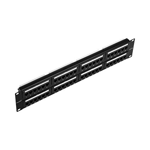 NavePoint 48-Port Cat5E UTP Unshielded Patch Panel for 19-Inch Wallmount Or Rackmount Ethernet Network 2U Black