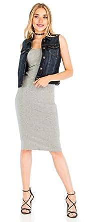 Women's Denim Vest Stretchy Nice Stone Washed W Hand sanding S M L 1XL 2XL 3XL Dark 3XL
