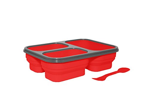 Silver One Expandable & Collapsible Bento Box Silicone Container Children/Adult Lunch Box, 3 Compartments (Eco One Meal (Red Bento Box)