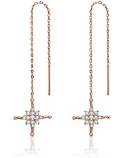 Asmiss Sparkly Crystal Star Threader Drop Earrings Chain Ear Jewelry Gift