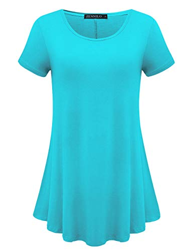 ZENNILO Womens Short Sleeve Loose Fit Swing Tunic Tops Basic T Shirt (Lake Blue, 3X)