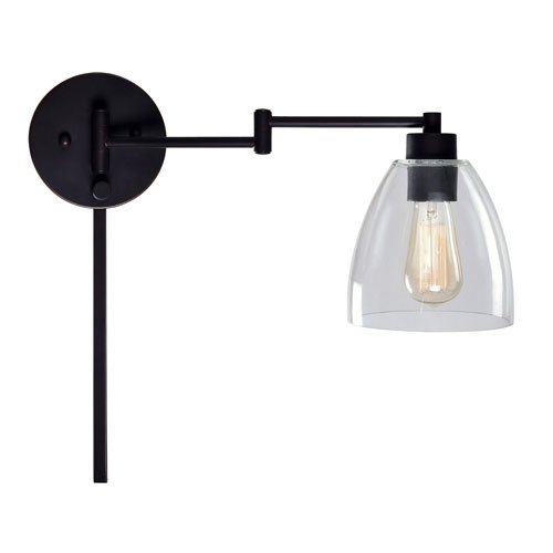 251 First Kenwood Oil Rubbed Bronze One-Light Swing Arm Wall Sconce with Clear Glass