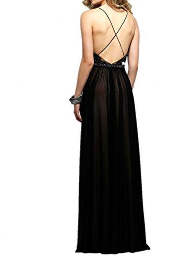 La_mia Braut Herrlich Spitze Chiffon Abendkleider Promkleider abschlussballkleider 2016 neuheit Bodenlang-44 Schwarz