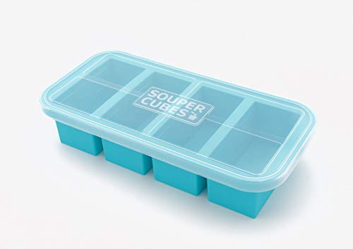 Cubes Soup - Souper Cubes Extra-Large Silicone Freezing Tray with Lid - makes 4 perfect 1cup portions - freeze soup broth or sauce