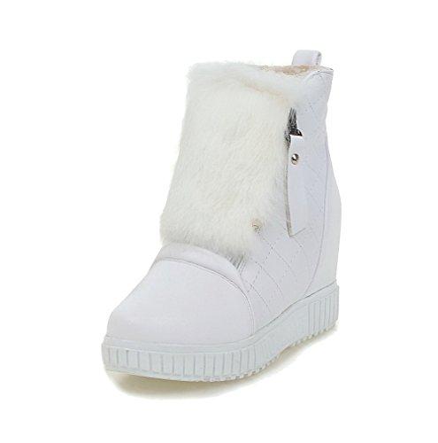 AllhqFashion Damen Reißverschluss Weiches Material Niedriger Absatz Rund Zehe Stiefel, Weiß, 42