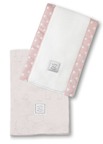 SwaddleDesigns Baby Burpies, Set of 2 Cotton Burp Cloths, Sterling Deco Elephants on Sunwashed Pink by SwaddleDesigns