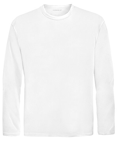 DRI-EQUIP Youth Long Sleeve Moisture Wicking Athletic Shirts. Youth Sizes XS-XL, White, Medium