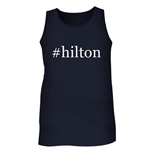 Tracy Gifts  Hilton   Mens Hashtag Adult Tank Top  Navy  Medium