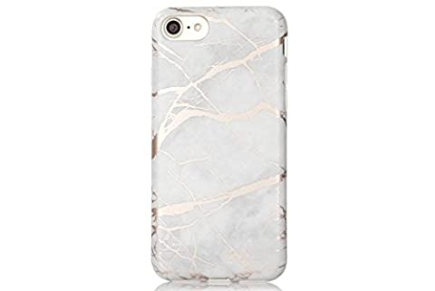 White and Rose Gold Chrome Marble Phone Case Protective TPU for iPhone 6 6S by CASESALAMODE - Lip Cell Phone Case