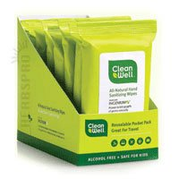 CleanWell Natural Hand Sanitizing Wipes - Original Scent, 10 Count
