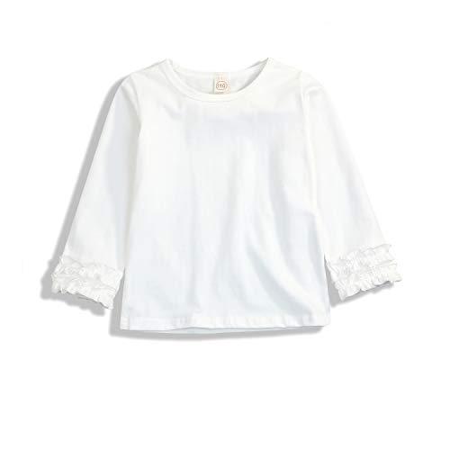 Creamy Long Sleeve Tee - GSHOOTS Baby Toddler Girls' Long Ruffle Sleeve T-Shirt (100/18-24 Months, A - White)