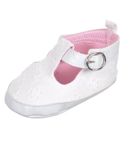 """Rugged Bear Baby Girls' """"Eyelet on Style"""" Mary Janes - white, 9 - 12 months"""