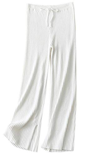 NAWONGSKY Women's Wide Leg Straight Cashmere Wool Pants with Side Open Slit White, Tag S = US ()