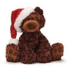 Gund Philbin Chocolate Bear With Santa Hat