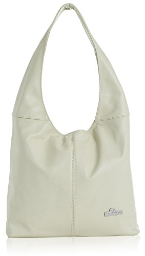 Beige Shoulder Soft Hobo Genuine LIATALIA Leather Italian Medium OLIVIA bag Light Shopper 16SfqOp