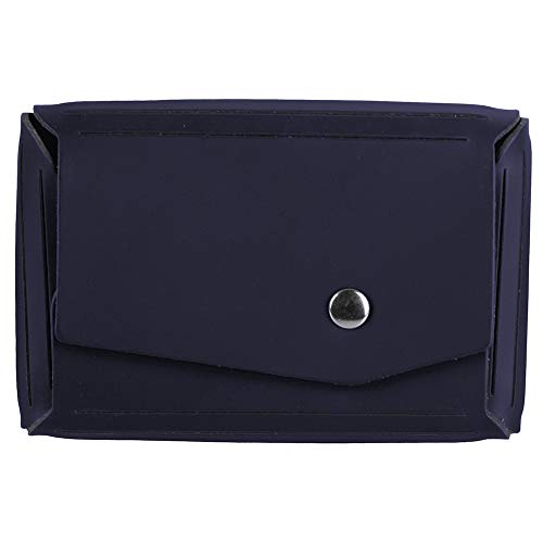 - JAM PAPER Italian Leather Business Card Holder Case with Angular Flap - Navy Blue - Sold Individually