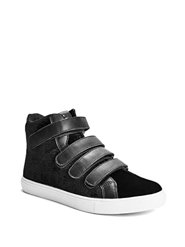 - G by GUESS Men's Trent Croc-Embossed Velvet Strap High-Top Sneakers