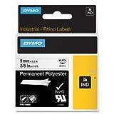 DYMO 18482 Rhino Permanent Poly Industrial Label Tape, 3/8'' x 18 ft, White/Black Print