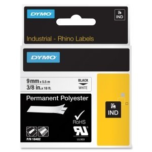 DYMO 18482 Rhino Permanent Poly Industrial Label Tape, 3/8'' x 18 ft, White/Black Print