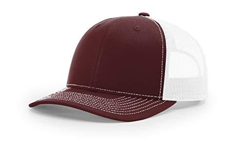 Richardson 112 Mesh Back Trucker Cap Snapback Hat, Maroon/White