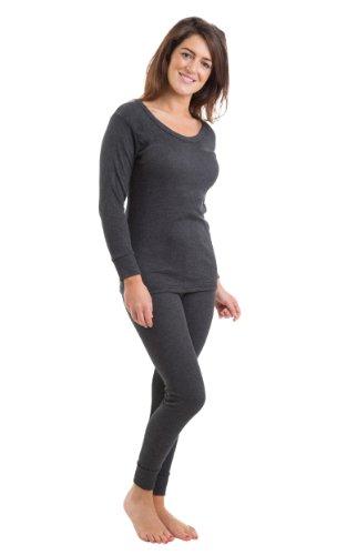Mujeres/Damas Costilla Conjunto De Ropa Interior Térmica, Chaleco De Manga Larga Y Pantalones Largos, Carbón De Leña 38-40