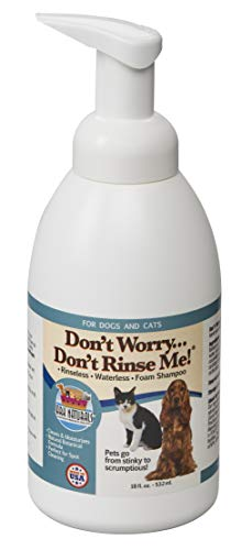 Ark Naturals Don't Worry Don't Rinse Me! Natural Dog and Cat Waterless, Rinseless Foam Shampoo, Freshens and Removes Odors, 18 oz. Bottle Bad Boy Dog Spa