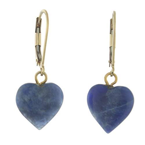 14K Gold Filled Sodalite Lever Back Heart Earrings, Medium