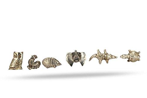 Set of 6 Knobs Animal shape Metal Kitchen Cabinet Cupboard Door Knobs Dresser Wardrobe and Drawer Pull .282 gm By Perilla - Metal Shape