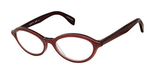- Hart Street - Cat Eye Fashion Reading Glasses for Men and Women - Sangria Shimmer Burgundy (+1.25 Magnification Power)