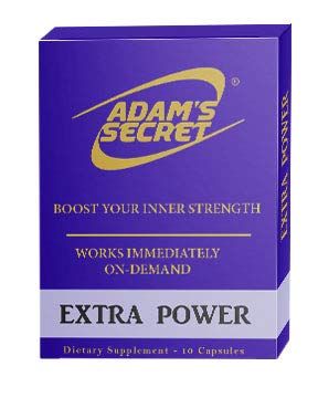 Extra Power by ADAM'S Secret Boost Your Inner Strength Naturally! Fast Acting Pills for Men! Effectively Increase Energy Levels – 10 Pills per Pack