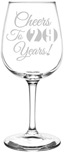 (29th) Cheers To Years Birthday, Anniversary, Graduation, Special Occasions & Celebration Toasting Gift Inspired - Laser Engraved 12.75oz Libbey All-Purpose Wine Taster Glass