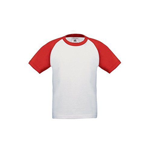 Base Raglan T-shirt (B&C Childrens Boys Short Sleeve Baseball T-Shirt (5-6 Years) (White/Red))