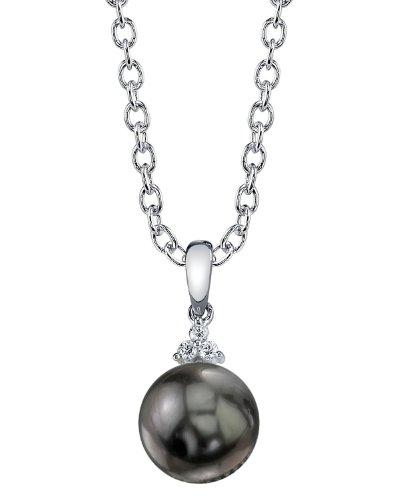 Or 14K diamant et perle de culture de Mer du sud de Tahiti Alyssa Pendentif