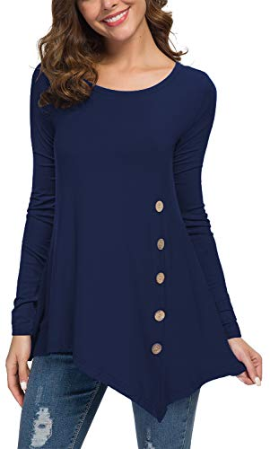 - Jouica Womens Scoop Neck Loose Blouse Long Sleeve Tunic Tops Navy Blue S