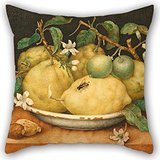 Slimmingpiggy 18 X 18 Inches / 45 By 45 Cm Oil Painting Giovanna Garzoni (Italian - Still Life With Bowl Of Citrons Pillow Covers ,both Sides Ornament And Gift To Bar,kids Girls,sofa,kids Girls,diva ()