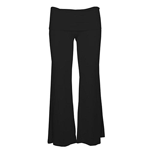 Lofbaz Women's Rayon Spandex Palazzo Lounge Pants Solid Black L