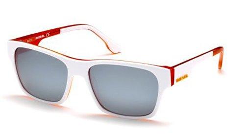 Diesel DL00125724C Wayfarer Sunglasses,White,57 - Sunglasses Diesel White