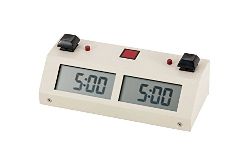 Chronos GX Digital Game Chess Clock - BUTTON - White by US Chess Federation