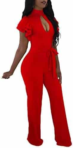 42d97cec71 Women Elegant Wide Leg Jumpsuit Short Sleeve Long Pants Club Outfits Rompers  Denim