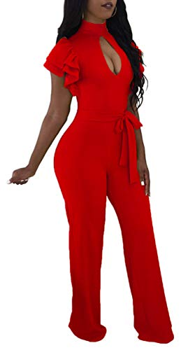 Women Sexy Jumpsuits Casual Turtleneck Short Ruffles Sleeve Waistband Palazzo Wide Leg Loose Long Pants Comfy Party Club Outfits Hollow Out Zipper Red