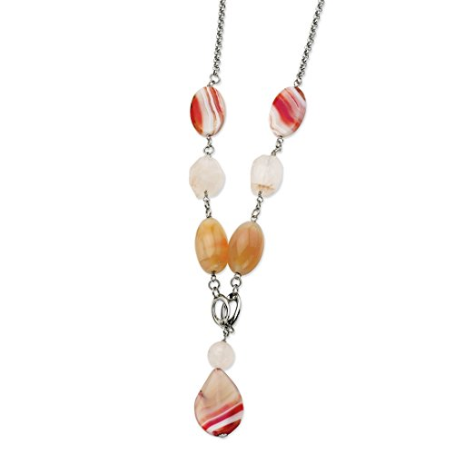 - ICE CARATS Stainless Steel Pink Quartz Agate 24 Inch 1 Extension Chain Necklace Pendant Charm Gemstone Fashion Jewelry for Women Gift Set